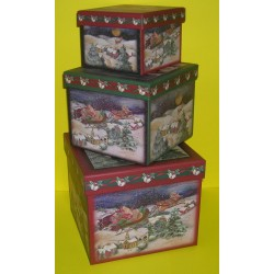 SCATOLE REGALO DI NATALE CHRISTMAS - SET DI 3 SCATOLE ART.39596